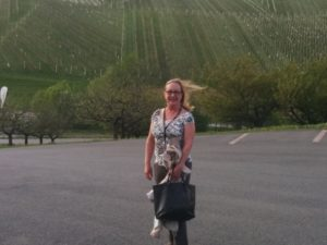 At the bottom of the hill - literally blown away by the beauty and steepness of the vineyards in Styria